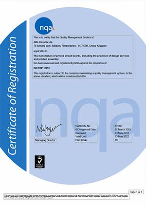 NQA Certificate ABL Circuits