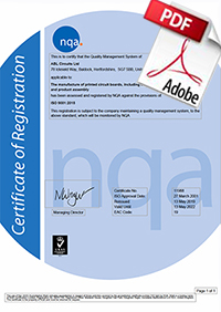 ISO 9001-2015 NQA Certificate ABL Circuits